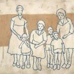 Family values. 2003 affresco su juta 60x80