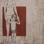 Madonna col bambino. 2002 Olio e smalto su juta affrescata su juta 60x80
