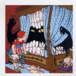 "Gabriele Arruzzo ""Little red riding Hood (meets the babau)"" cm 200x200 anno 2006 Smalto e acrilico su tela"