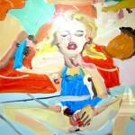 Chantal Joffe olio su tavola cm.29x22 pubblicato a catalogo
